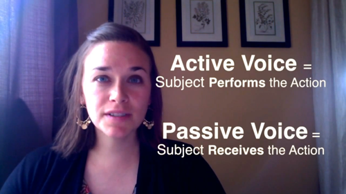Active Voice = Subject Performs the Action Passive Voice = Subject Receives the Action