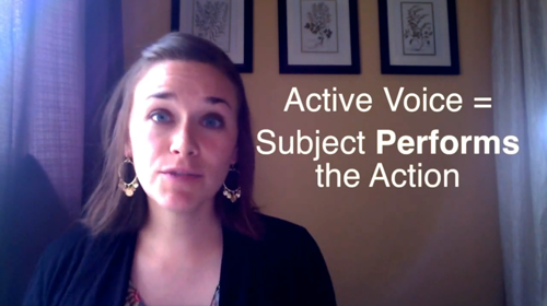 Active Voice = Subject Performs the Action