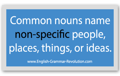 Common nouns name NON-SPECIFIC people, places, things, or ideas. www.GrammarRevolution.com/proper-nouns.html