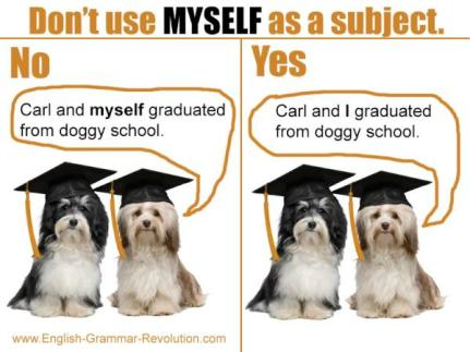 Don't use MYSELF as a subject. These dogs know better. www.GrammarRevolution.com/reflexive-pronouns.html