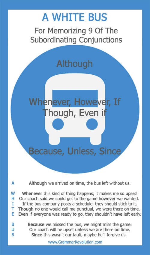 A White Bus for memorizing 9 of the subordinating conjunctions