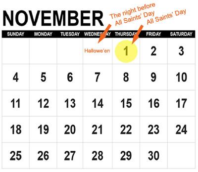 All Saints' Day and Halloween Calendar