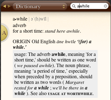 AWHILE in the dictionary
