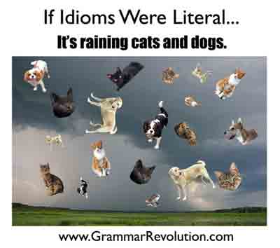 idiomatic expressions - It's raining cats and dogs!