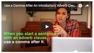 Commas after adverb clauses - video