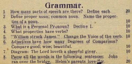 1912 Grammar Test