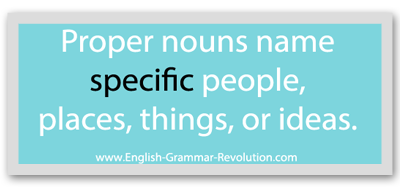 Proper nouns name SPECIFIC people, places, things, or ideas. www.GrammarRevolution.com/proper-nouns.html