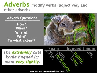 What is an adverb? An adverb is a word that describes a verb, adjective, or another adverb.