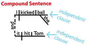 Here's a sentence diagram of a compound sentence. www.Grammar-Revolution.com/sentence-structure.html