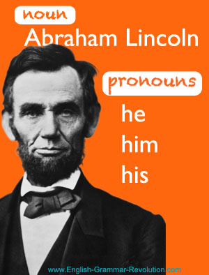 What is a pronoun? Abe Lincoln helps us show you.  www.GrammarRevolution.com/what-is-a-pronoun.html