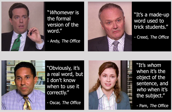 Who vs whom & The Office